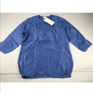 Anokhi Blue Eppolet Blouse Silk 3/4 Sleeve Top M